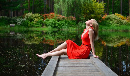 an woman in a lake