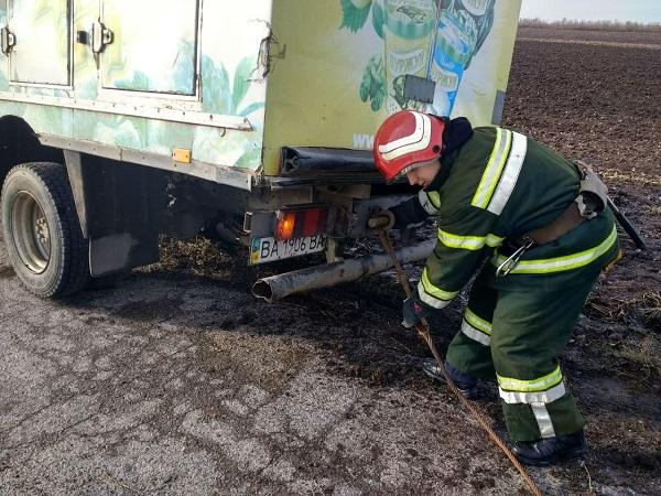 В Олександрії застряг вантажний фургон