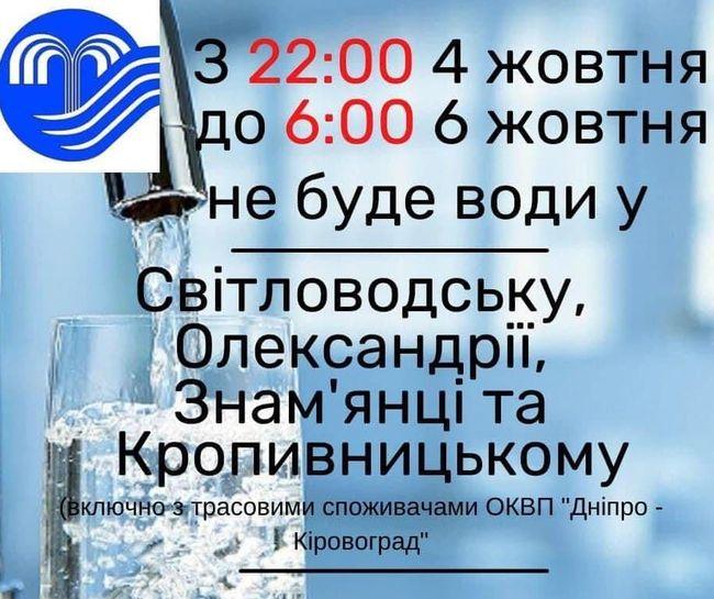 Сьогодні Олександрія без води